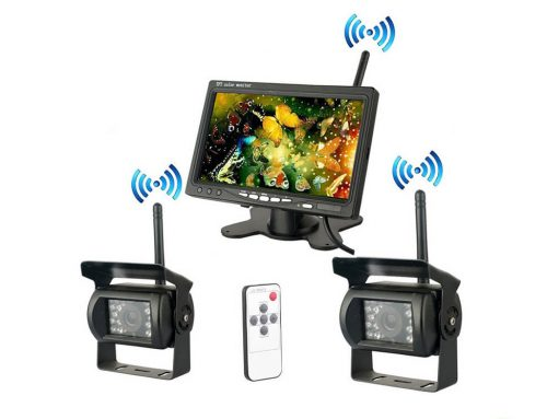 Wireless Backup Camera + Monitor with HD Waterproof Night vision, for RV, Truck, Trailer, Bus, Vans(SL-D-1to2)